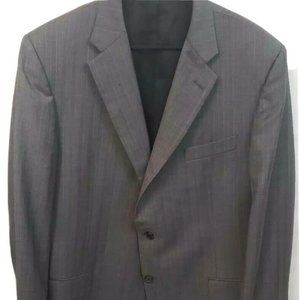 Hickey Freeman Mens Suit Jacket 46 L Gray Striped
